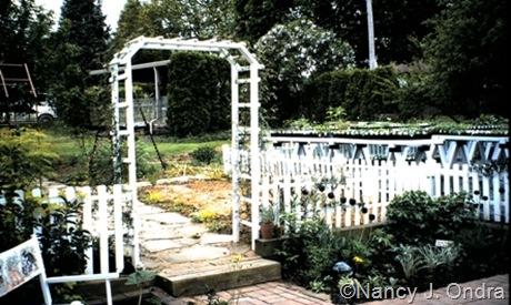 White arbor in Ondra garden Emmaus 2000