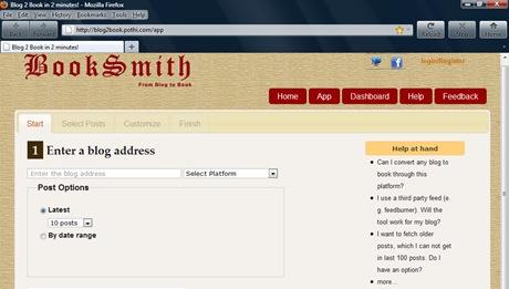 Blog2Book screenshot