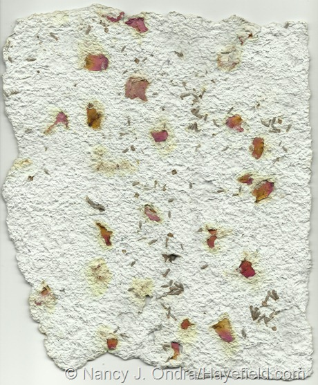 Paper pulp blended with dried lavender and rose petals