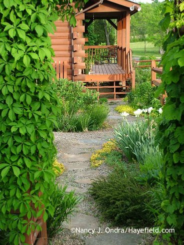 Courtyard Path from barn May 2015; Nancy J. Ondra at Hayefield