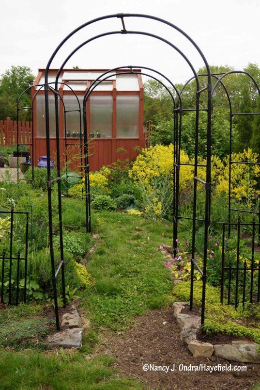 New arbors in the Happy Garden [Nancy J. Ondra/Hayefield.com]