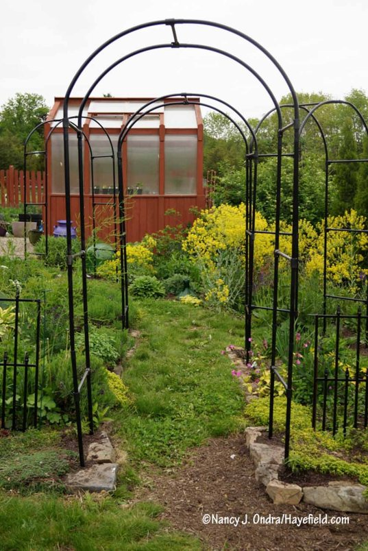 New arbors in the Happy Garden [Nancy J. Ondra/Hayefield.com]