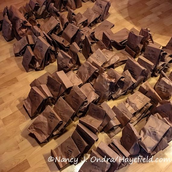 Harvested seeds in brown paper bags [©Nancy J. Ondra/Hayefield.com]